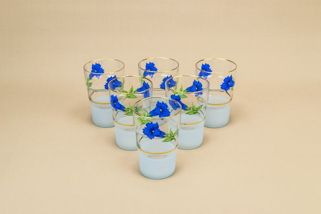 6 bluebell water glasses
