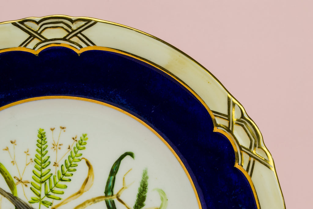 Blue and gold cake plate