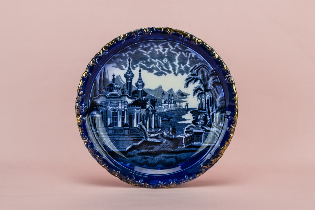 Flow blue cake plate