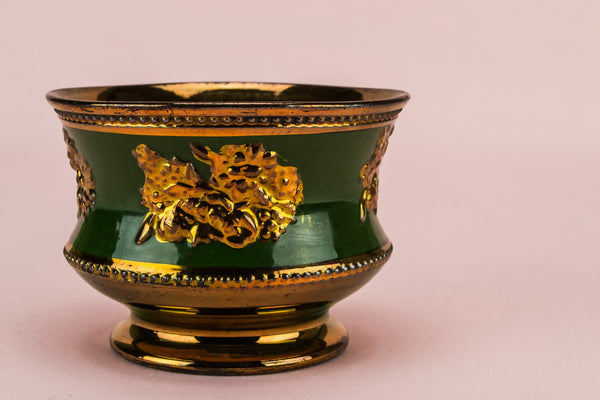 Lustre green sugar bowl