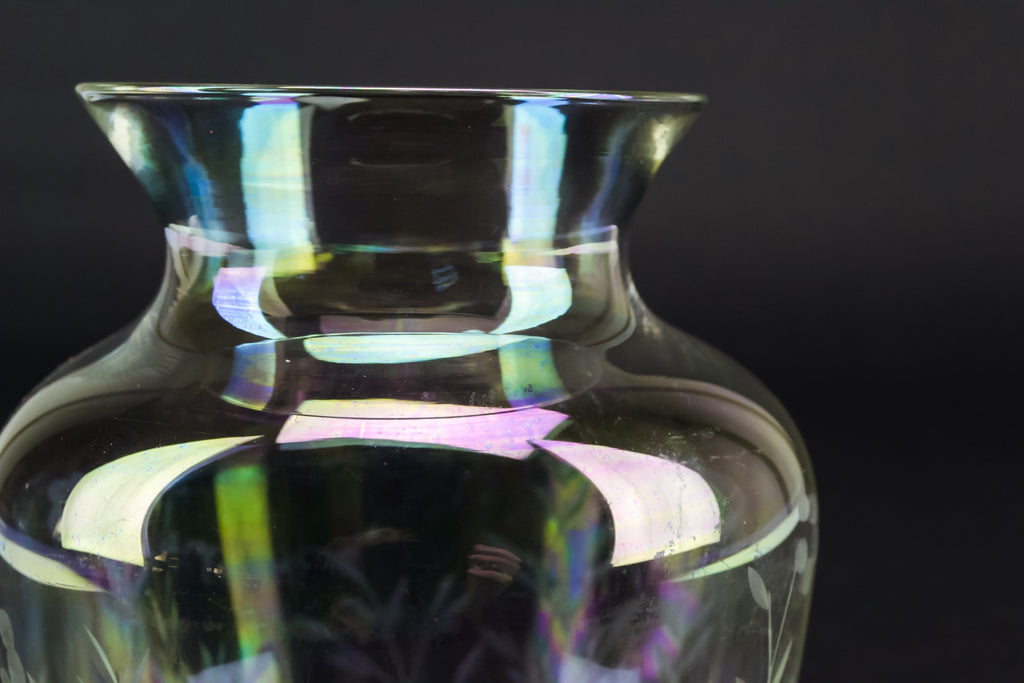 Small iridescent glass vase