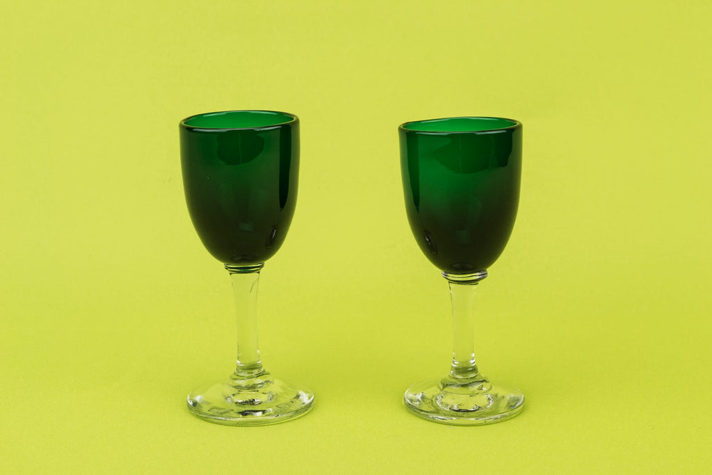 2 green vodka shot glasses
