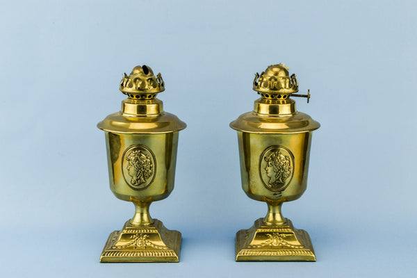 2 small brass oil lamps