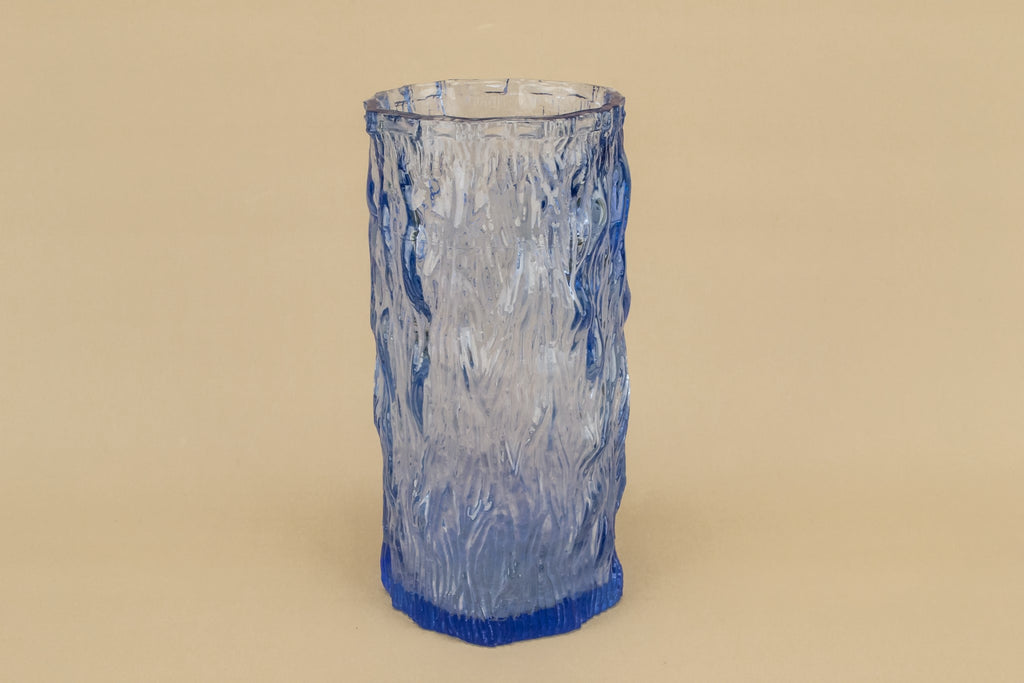 Blue glass tree bark vase
