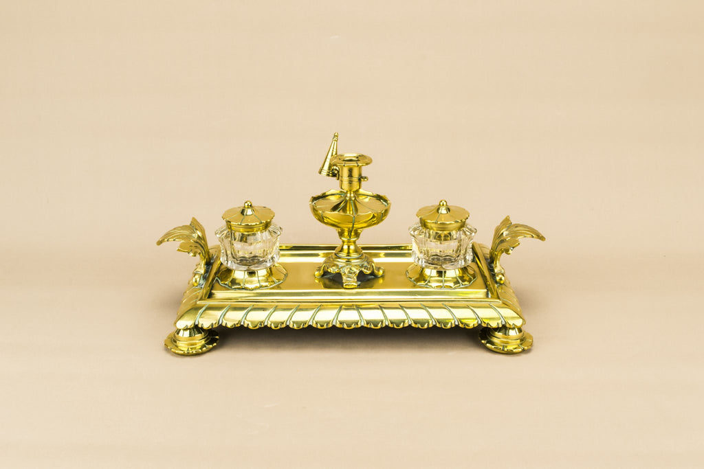 Brass and glass inkwell