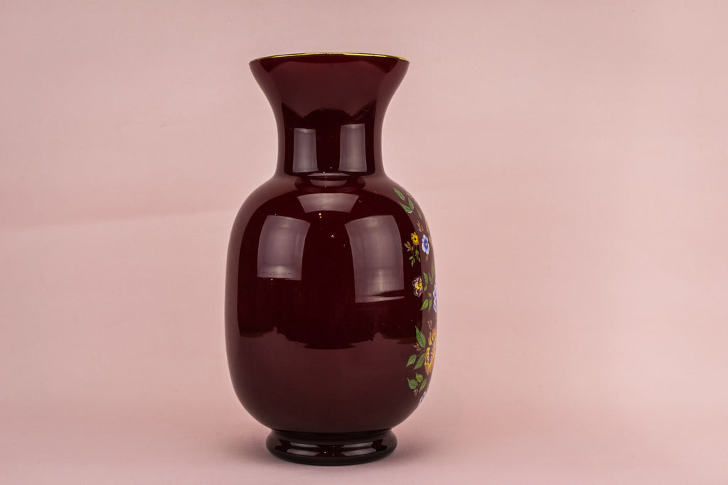 Red glass flower vase