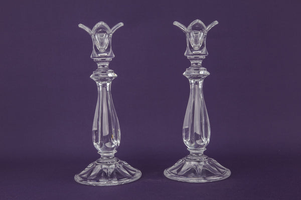 Large glass candlesticks