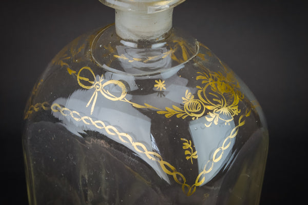 Blown glass gilded decanter