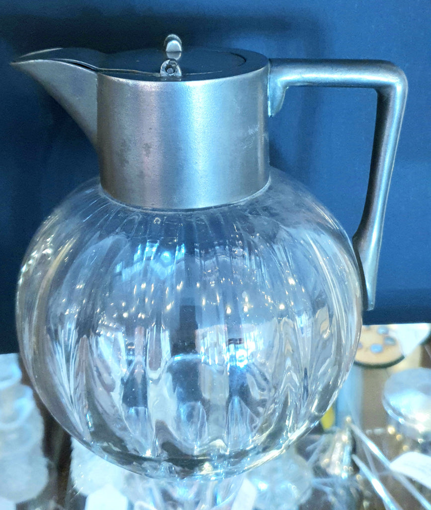Antique Glass & Pewter Wine Jug 1880s