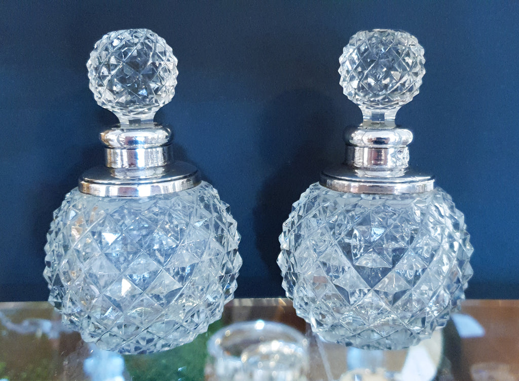 Pair of Cut Glass and Silver Snuff Bottles, 1903
