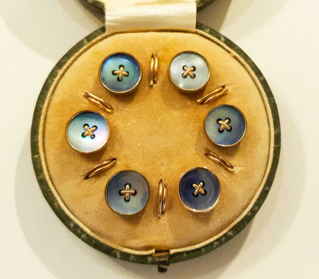 6 Antique Mother of Pearl Buttons, circa 1900