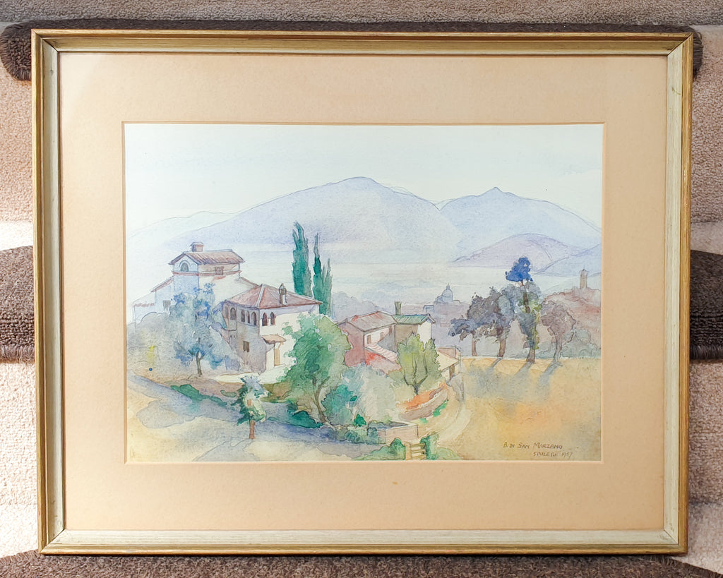 1957 Watercolour Painting Spoleto Landscape in Italy by Betty Di San Marzano