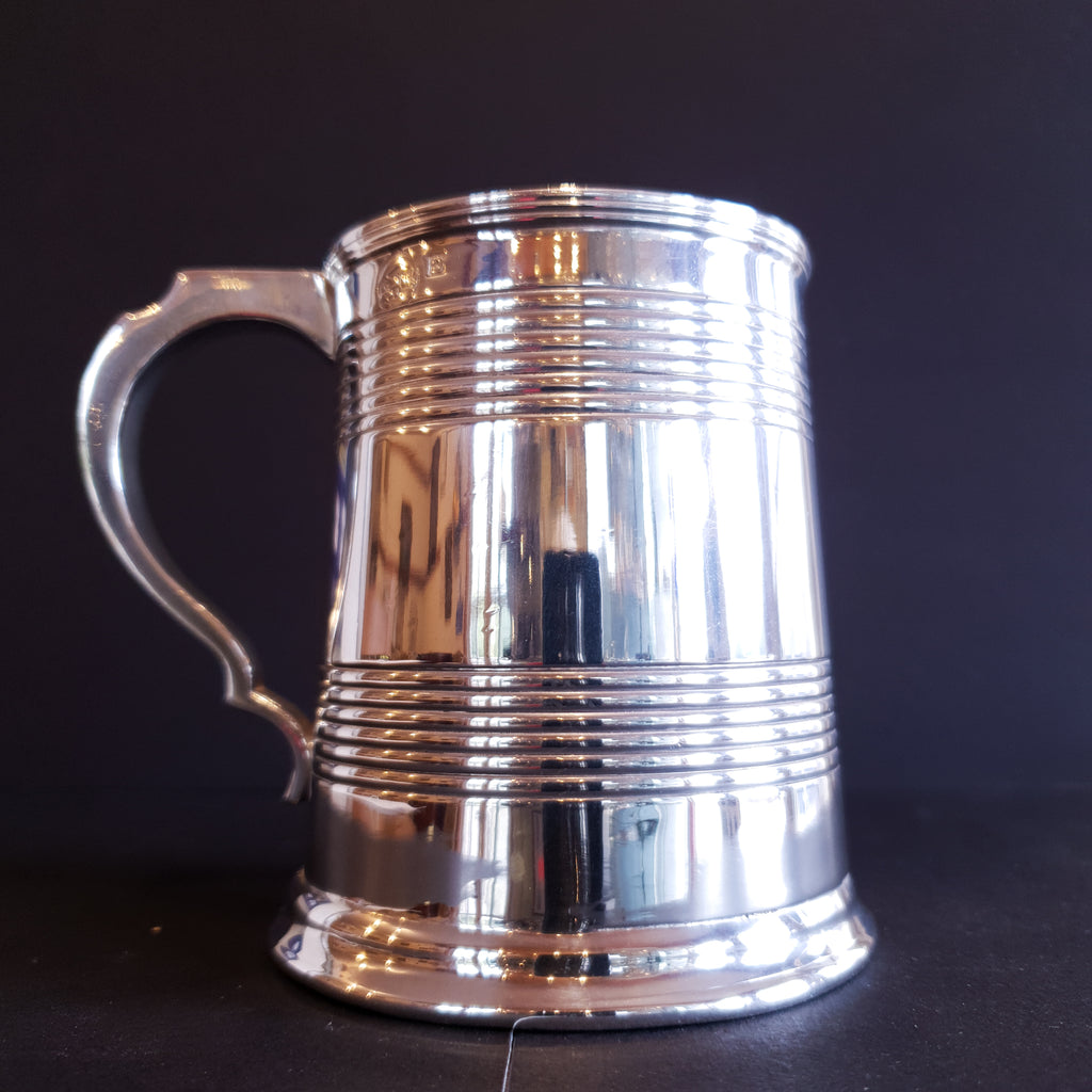 1/2 Pint Beer Tankard Silver Plated Victorian