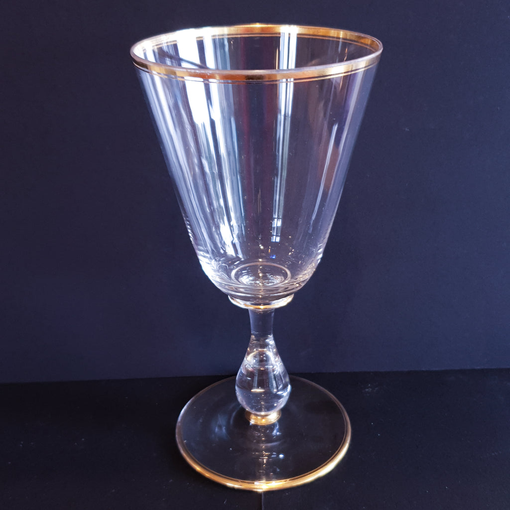 Two Gilded Wine Glasses Vintage French