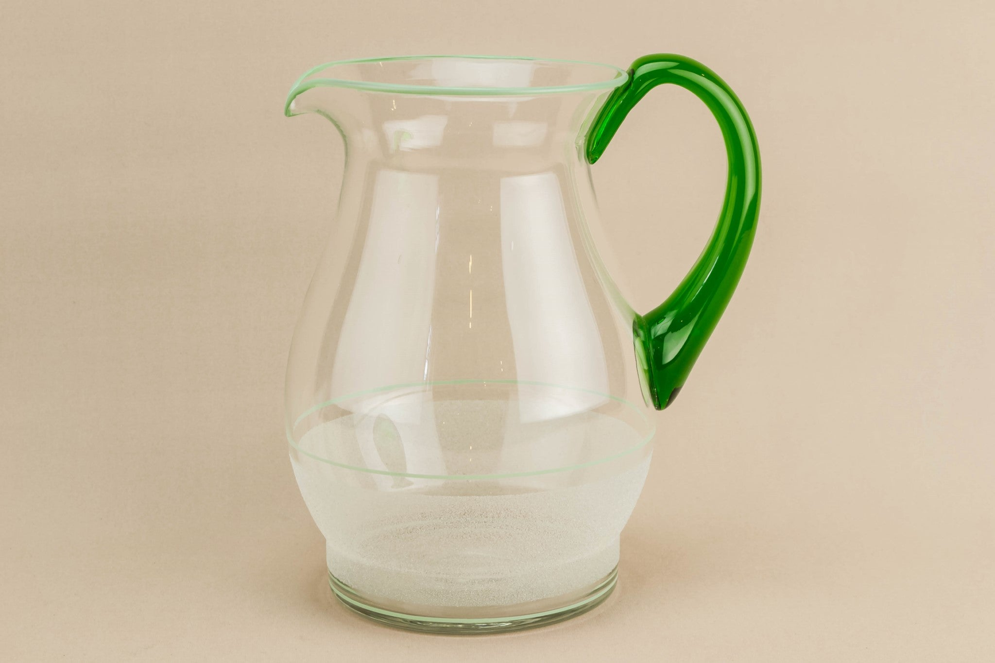 Green glass water jug