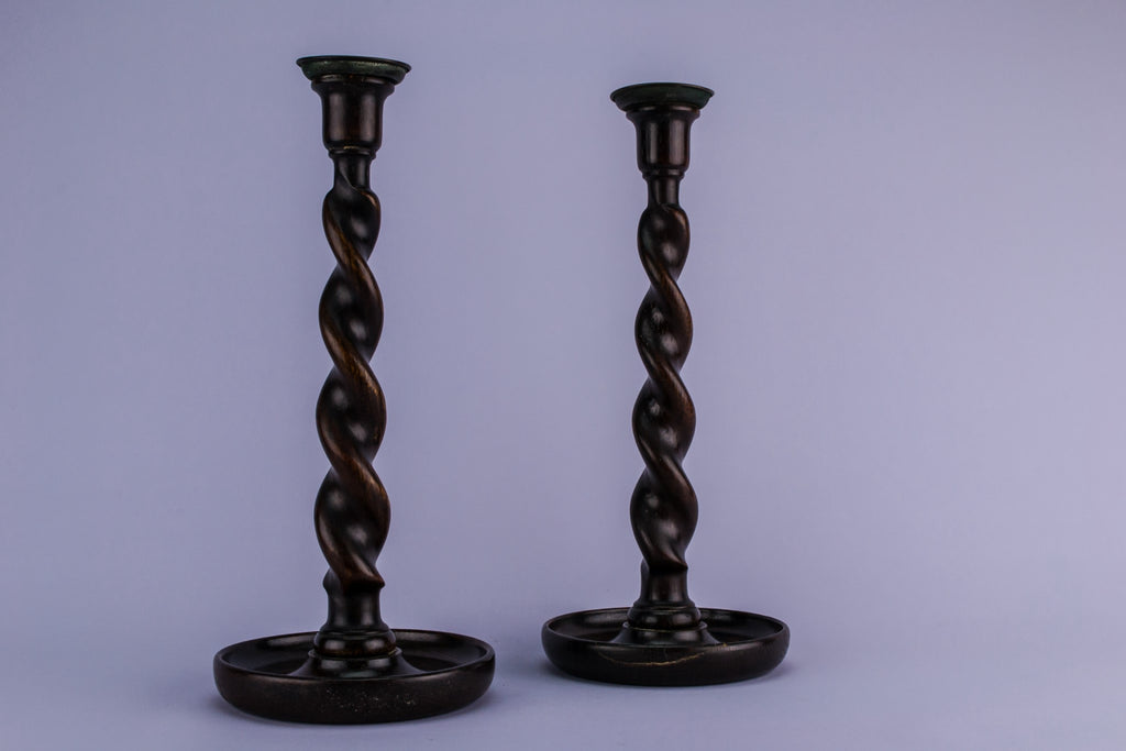 2 tall oak candlesticks