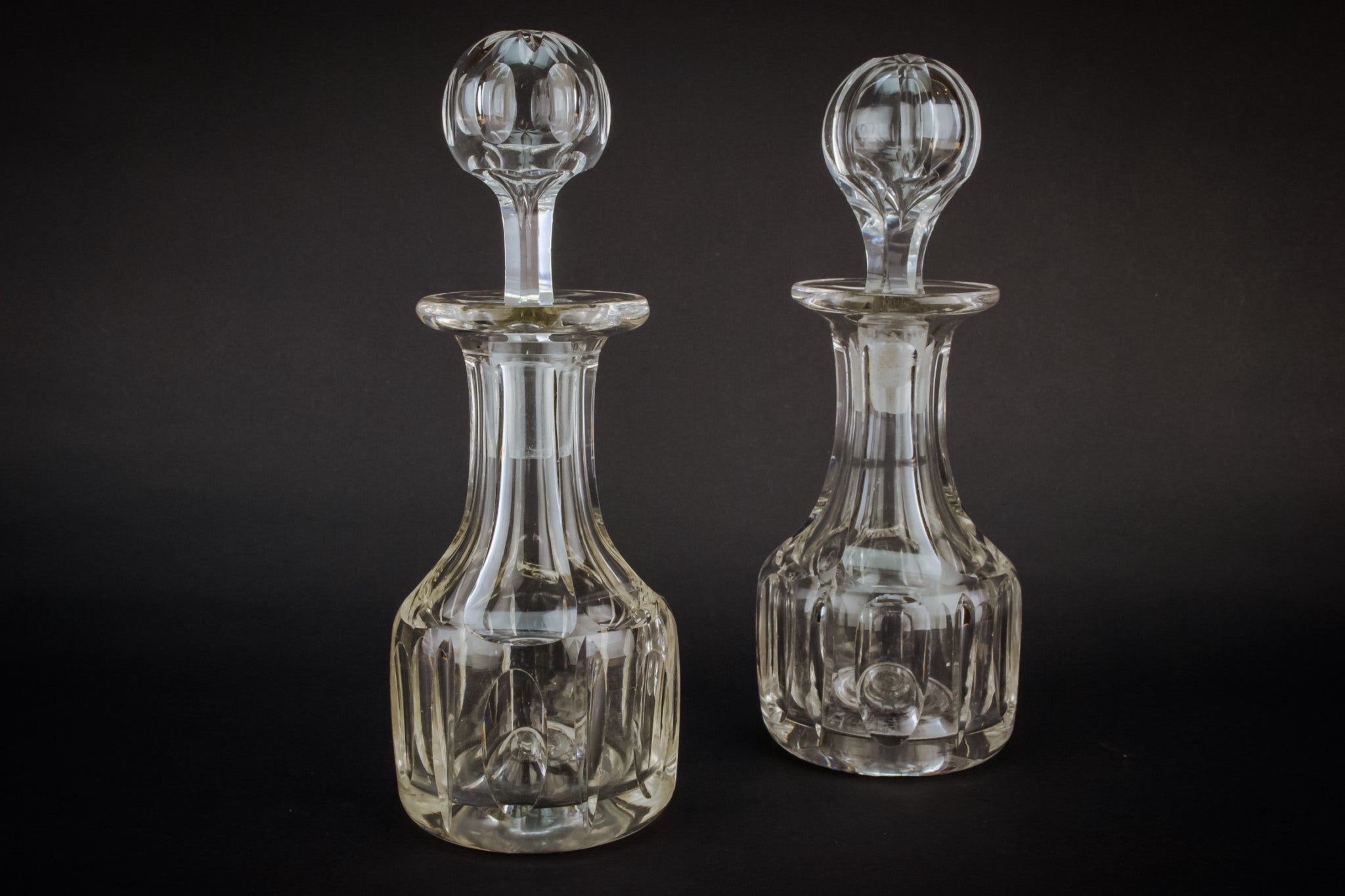 2 small glass decanters