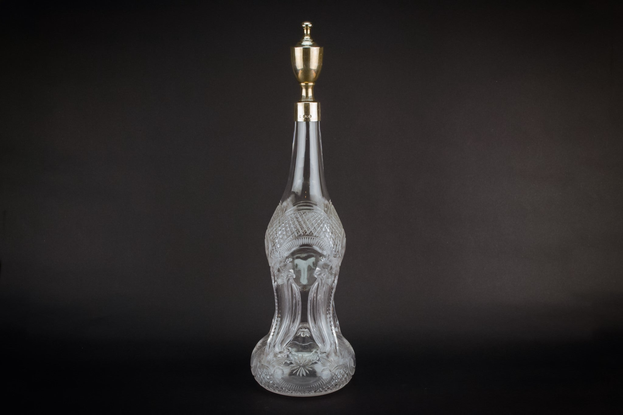 Tall cut glass & silver decanter, English 1896