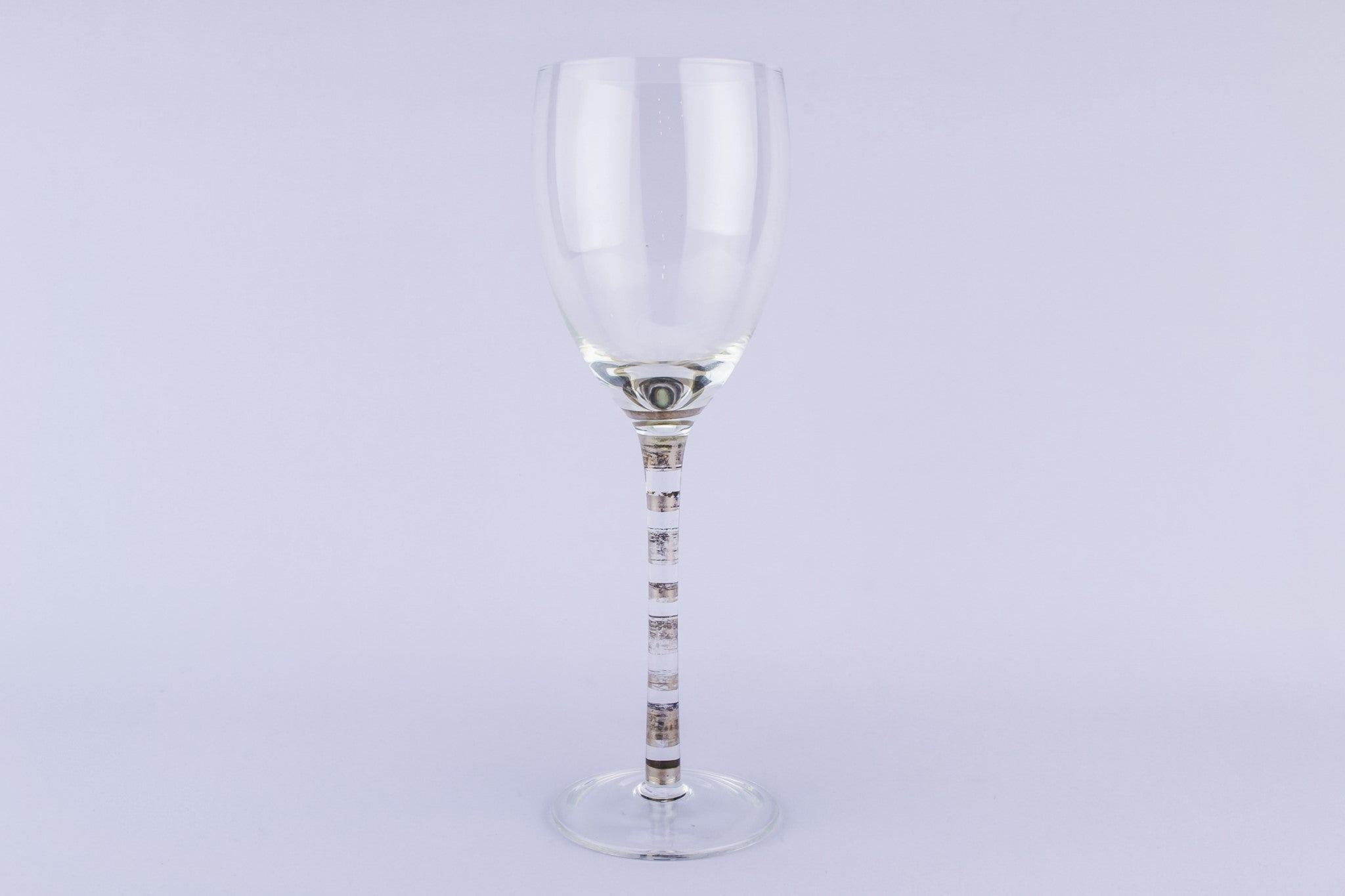 4 silvered stem wine glasses