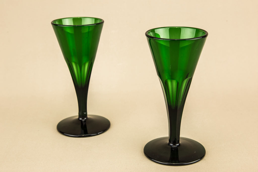2 green port glasses