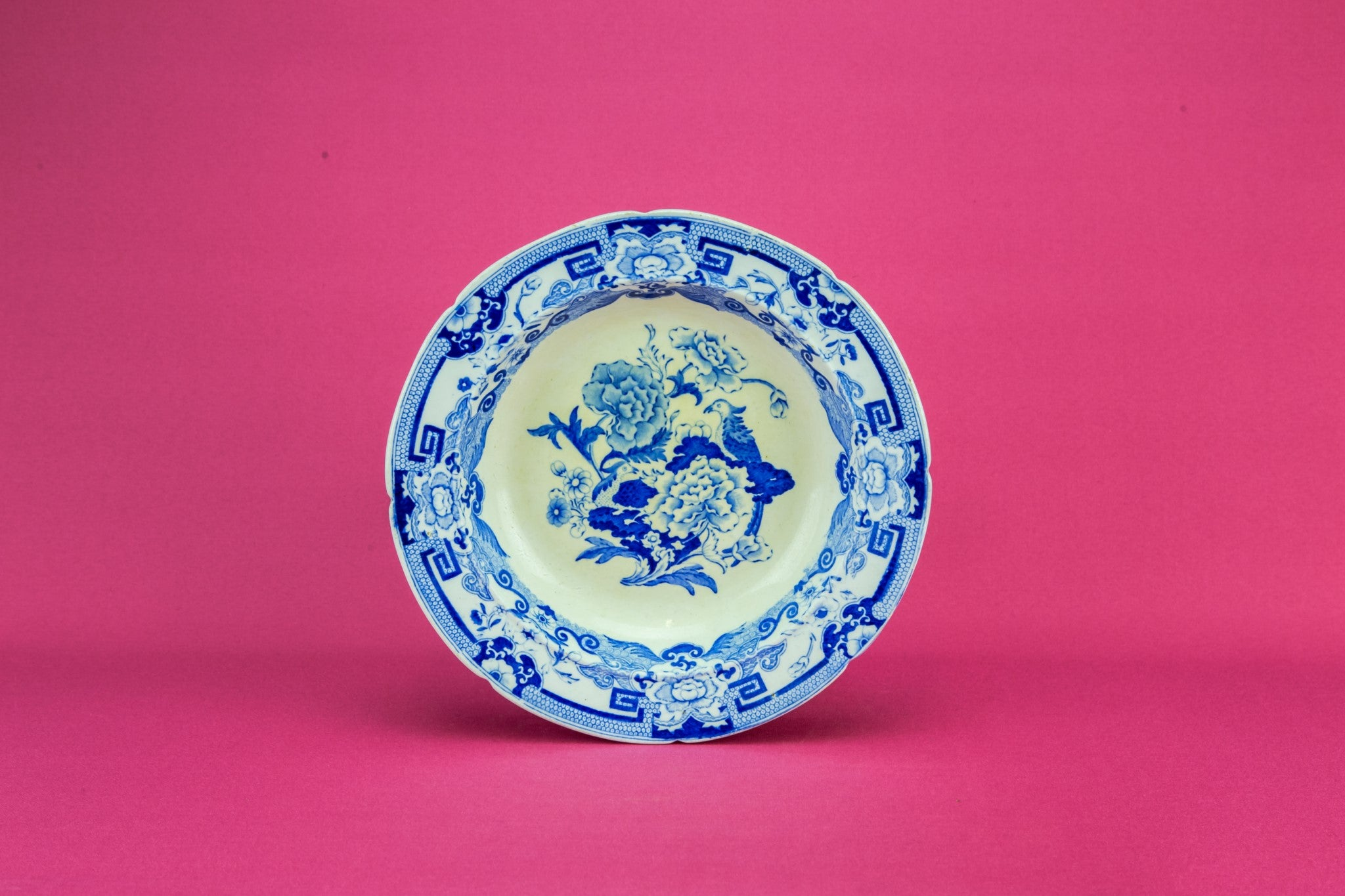 Floral blue and white dish