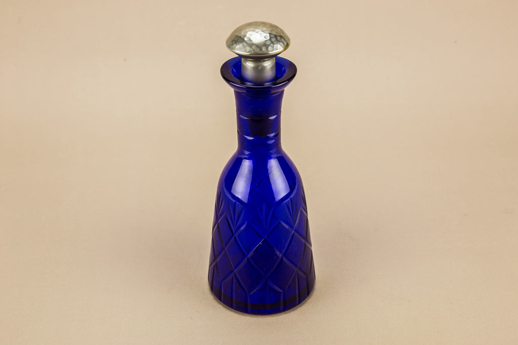 Blue glass oil bottle