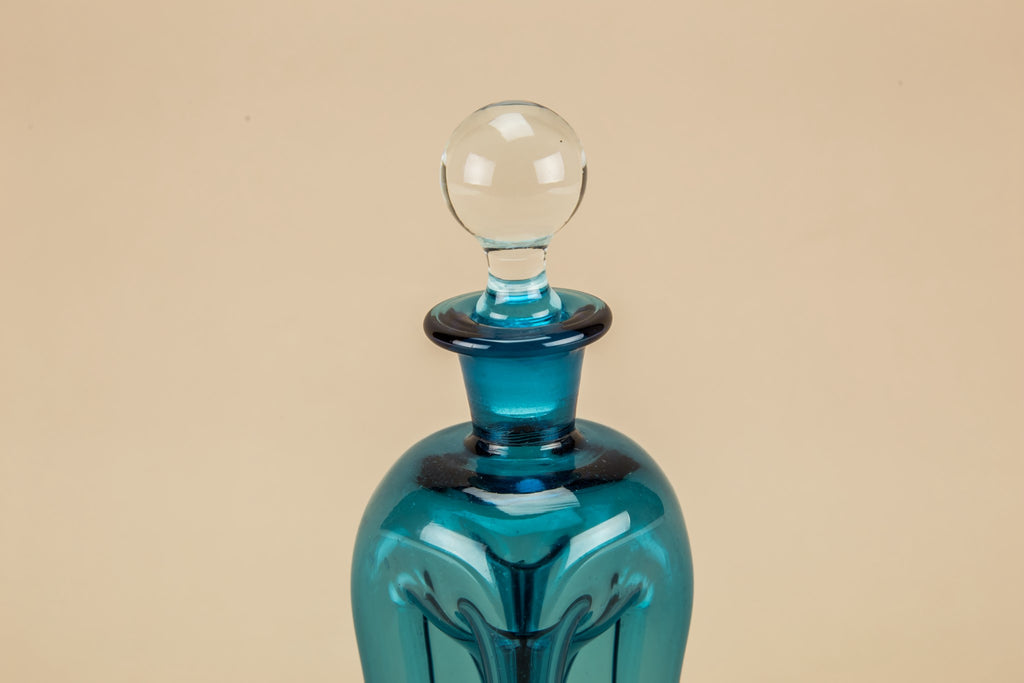 Hourglass blue decanter