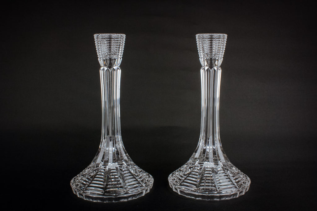 2 Modernist glass candlesticks