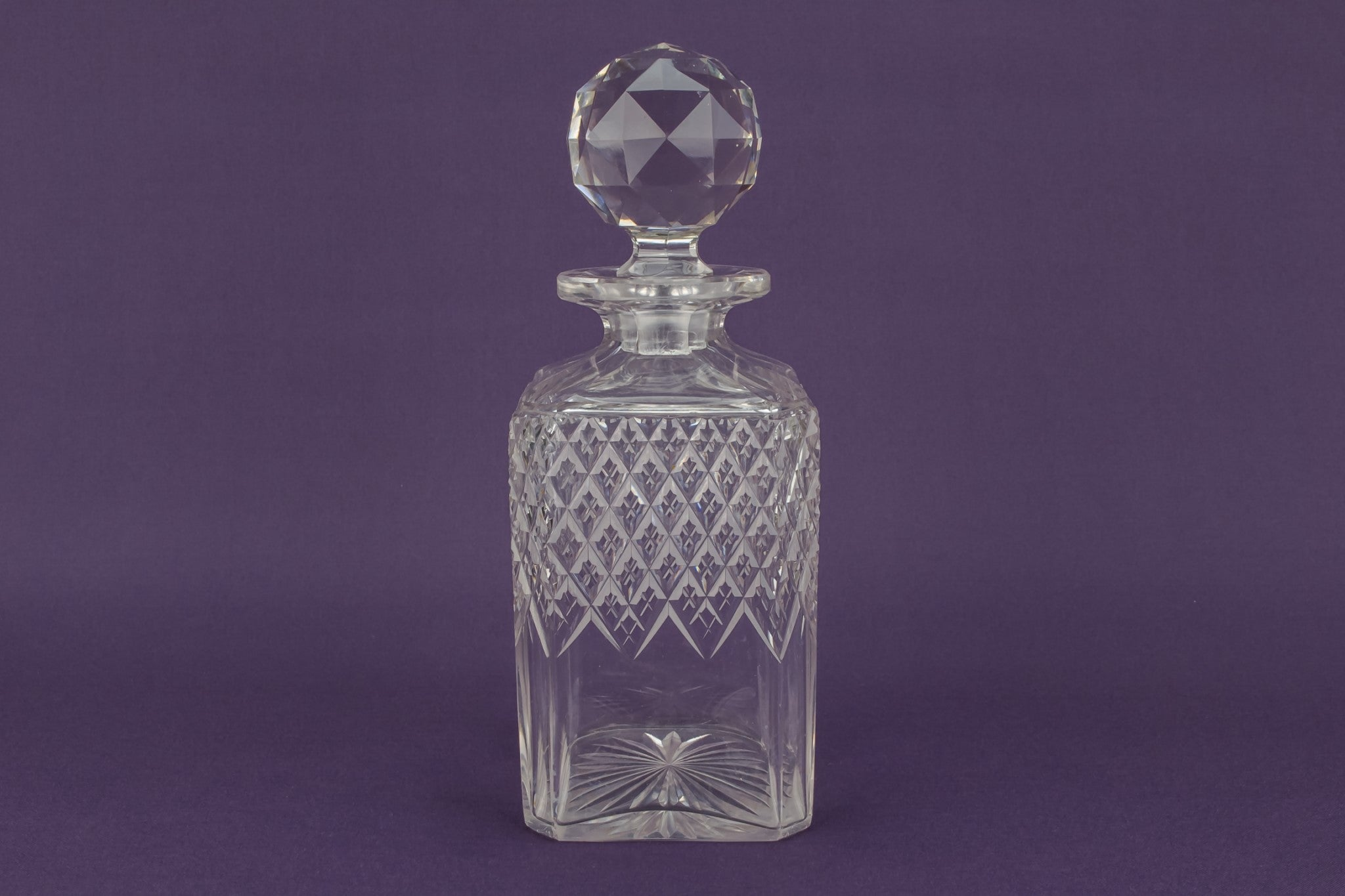 Square cut glass whisky decanter, English 1930s