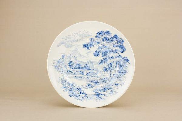 6 blue and white dinner plates