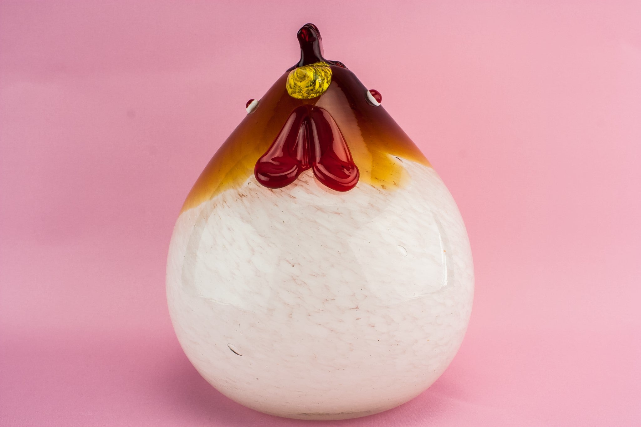 Glass chicken paperweight
