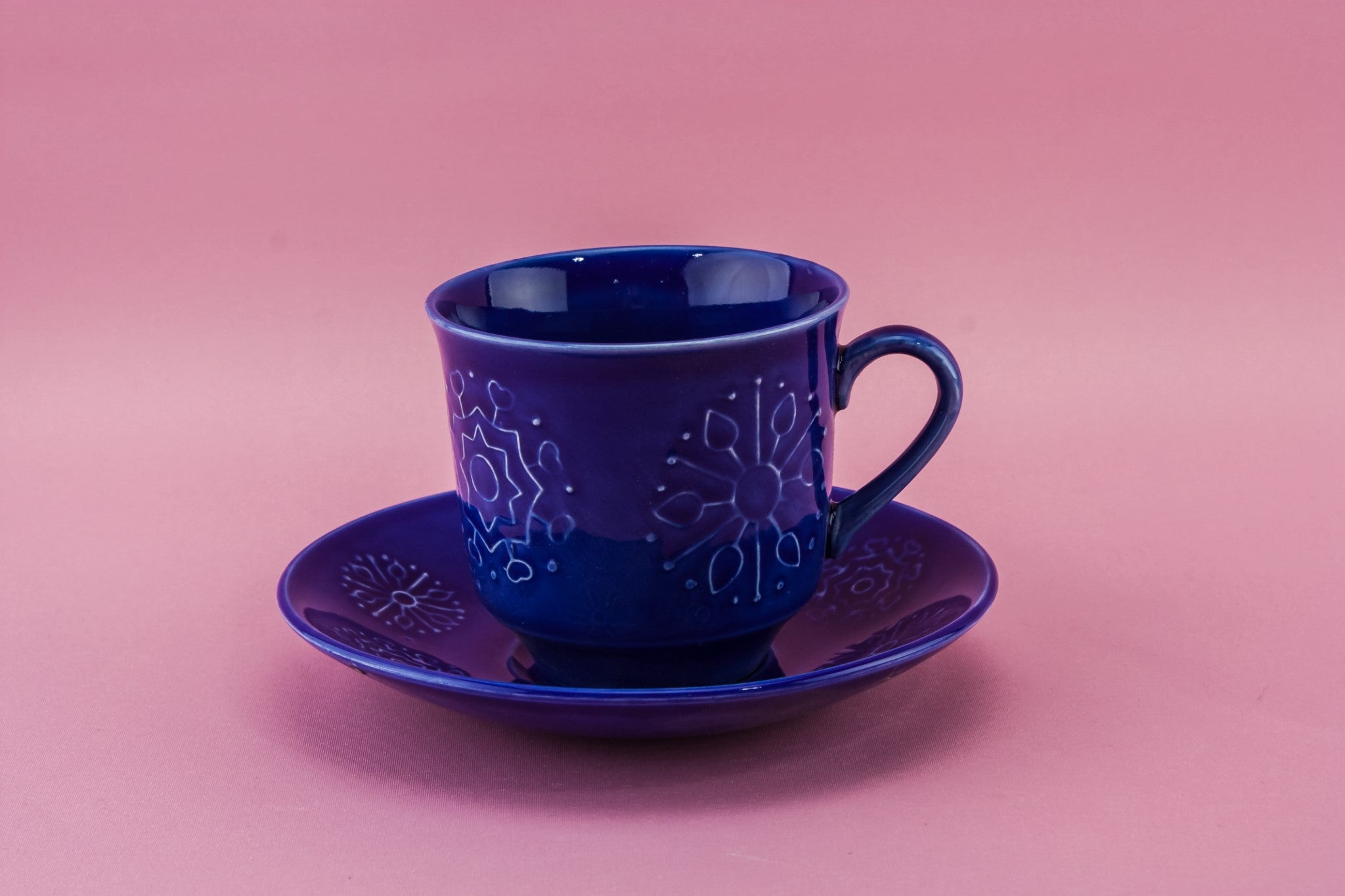 Blue tea set for four