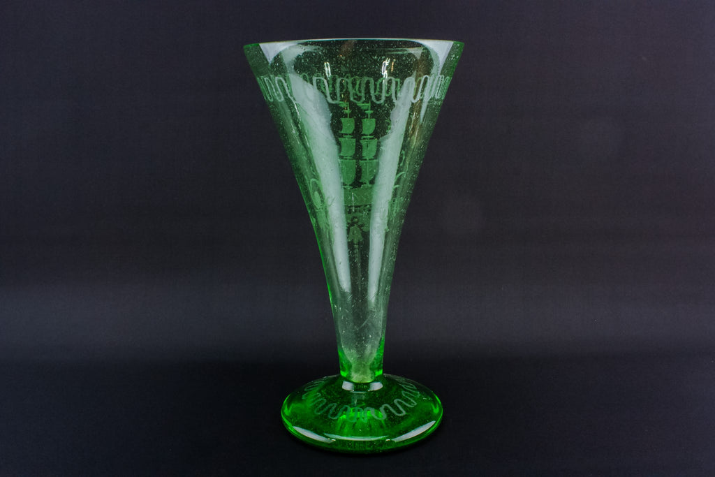 Green glass trumpet vase