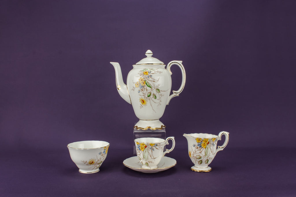 Bone china coffee set for five