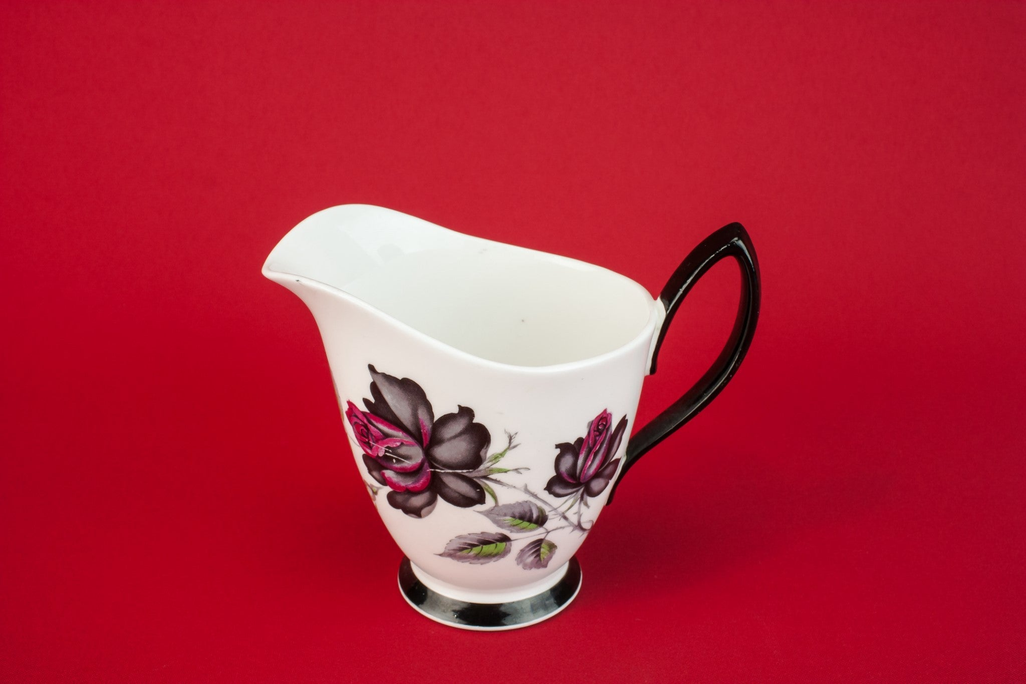 Black bone china creamer