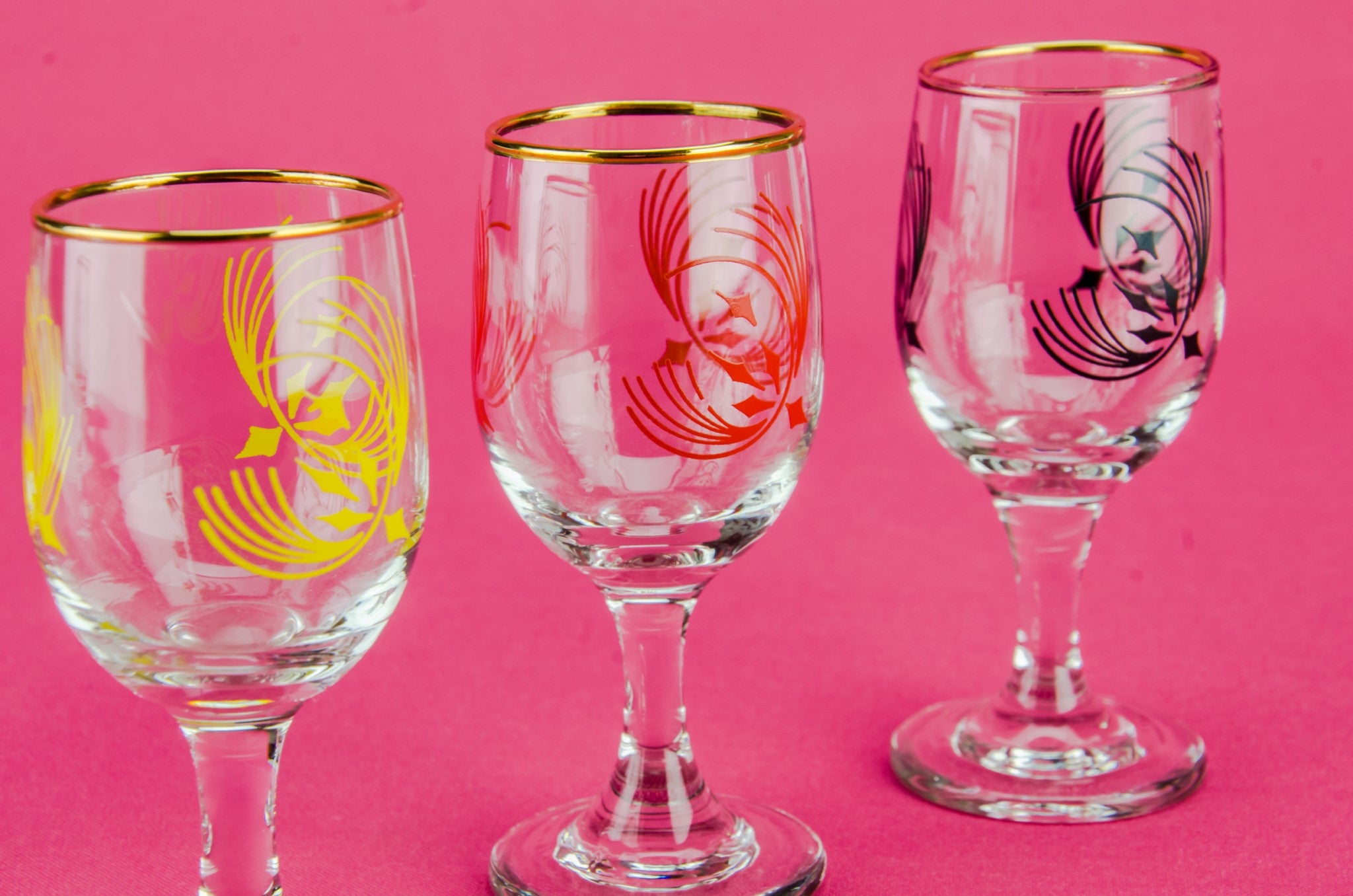 6 colourful port glasses