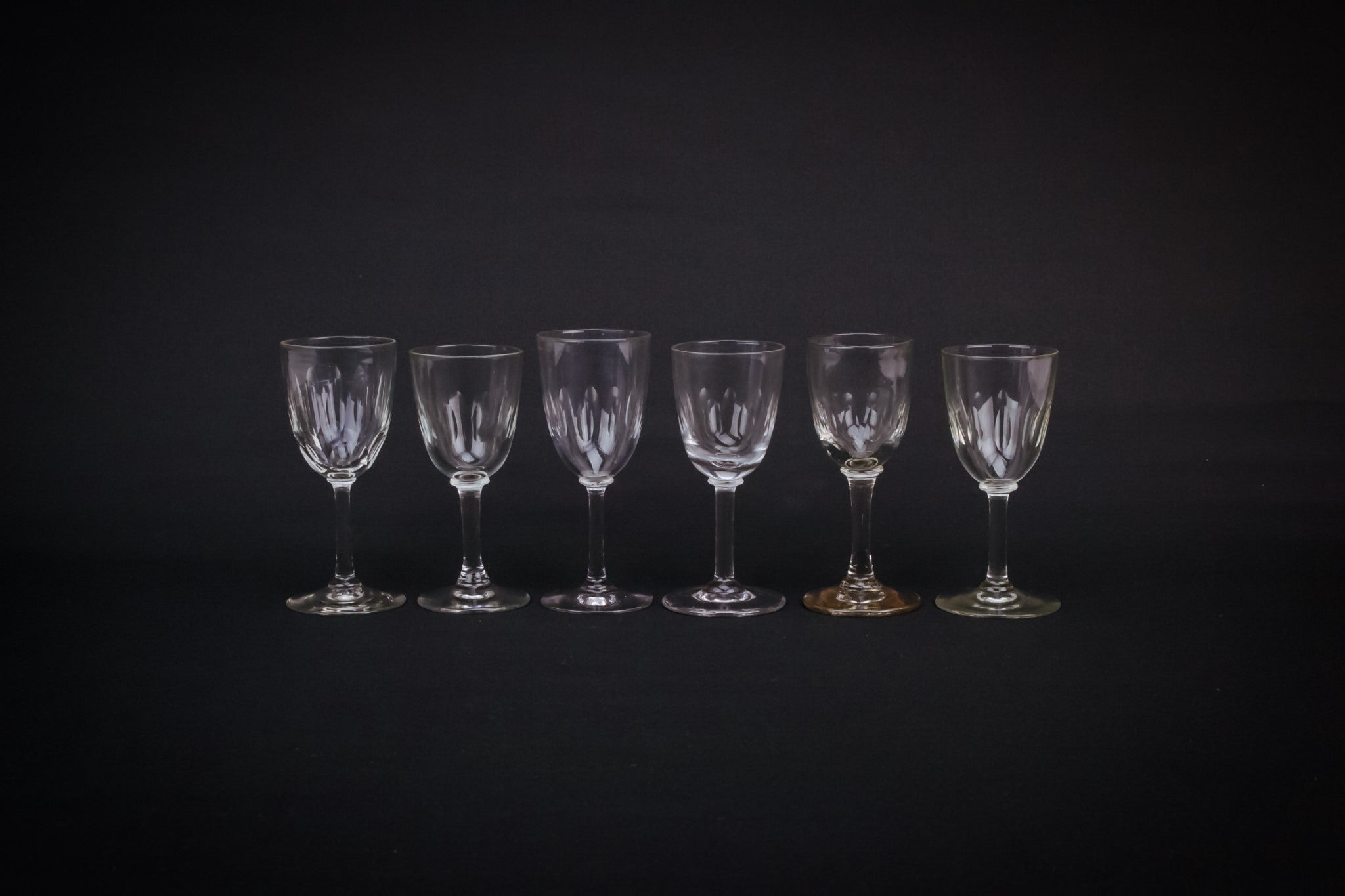 6 small port glasses