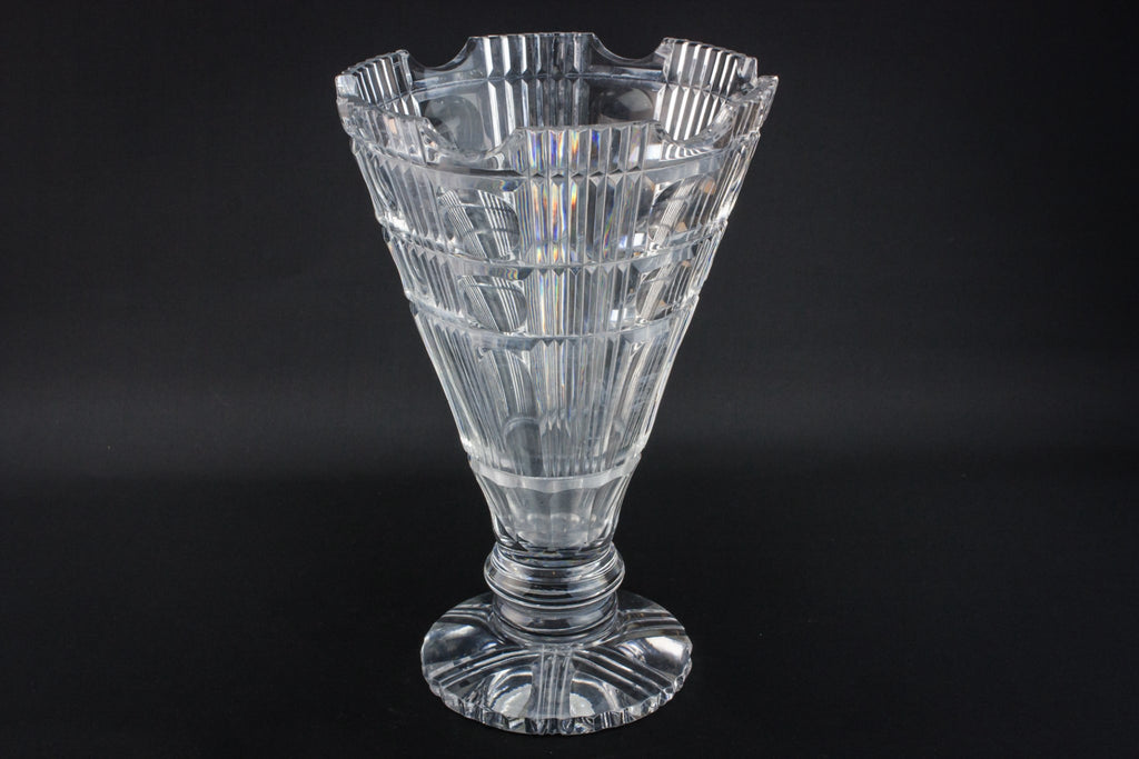 Cut glass funnel vase