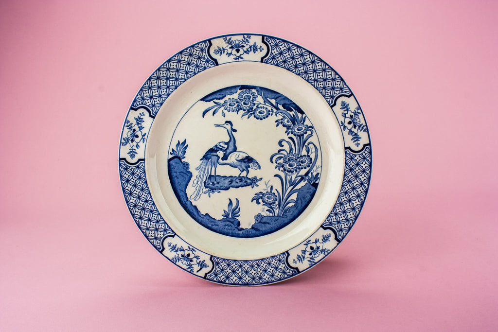 6 blue and white plates