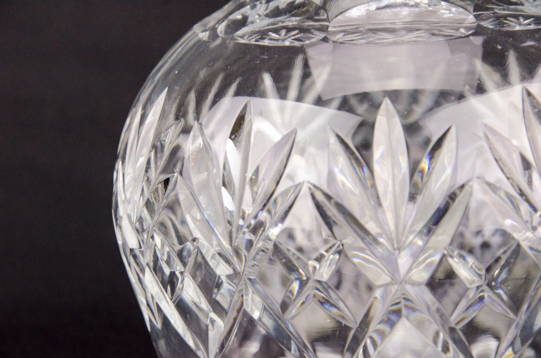 Cut glass globular decanter