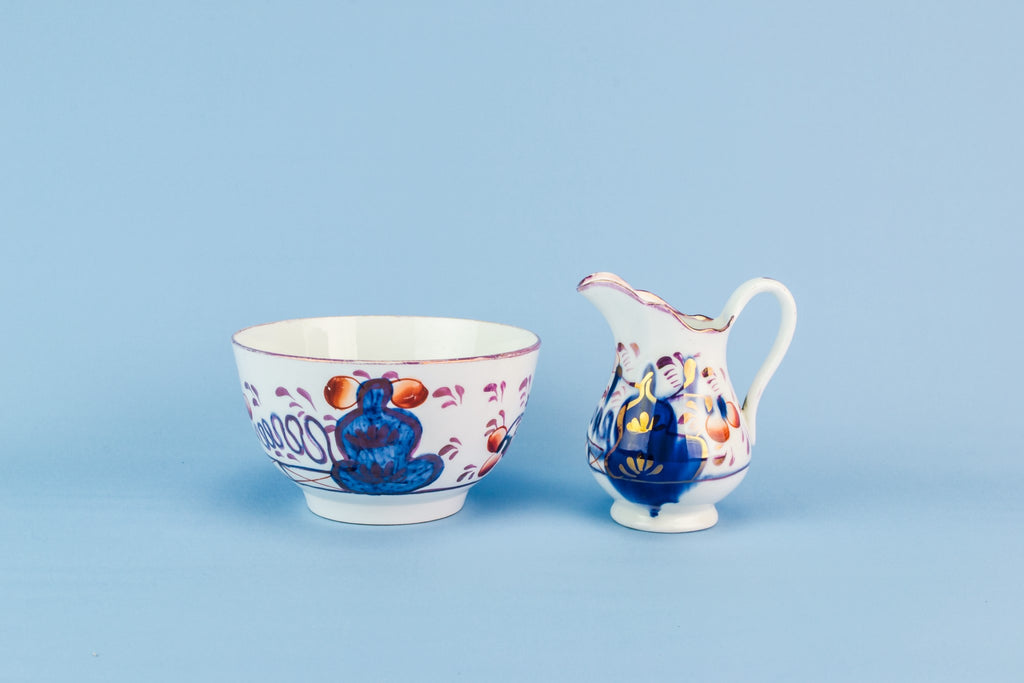 Gaudy Welsh creamer and bowl