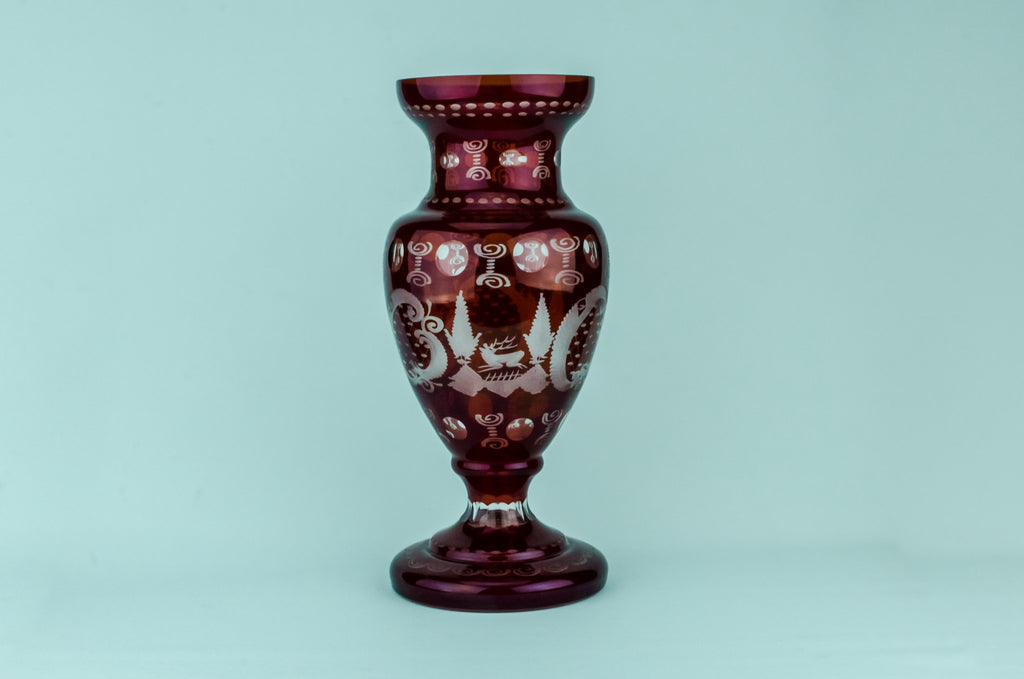 Large red glass vase
