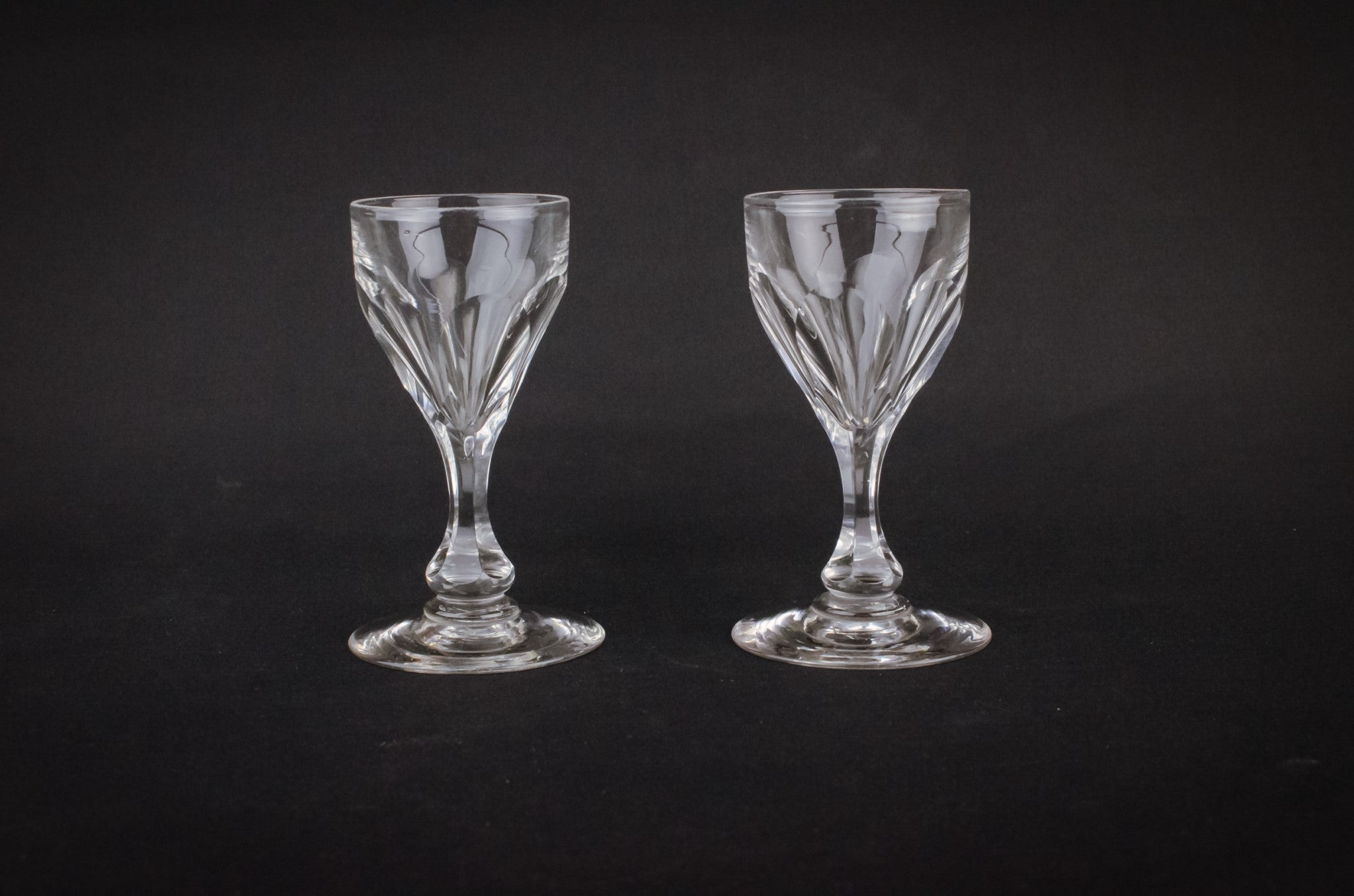 2 cut glass port glasses