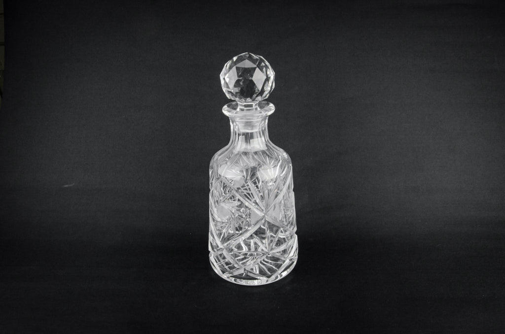 Cut glass tapered decanter
