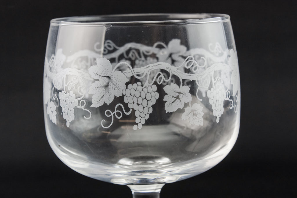 9 etched wine glasses