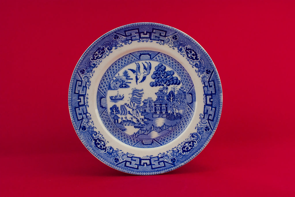 Blue willow serving dish