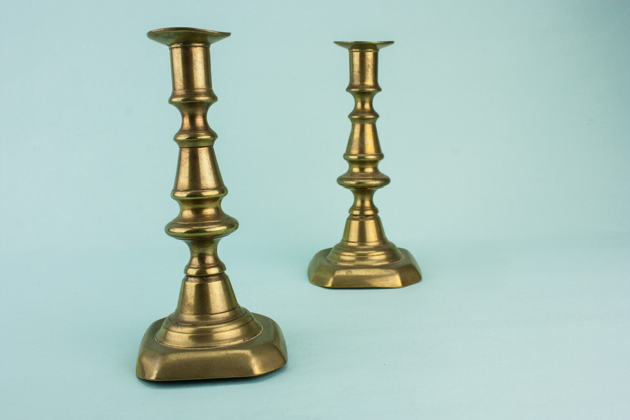 2 brass medium candlesticks