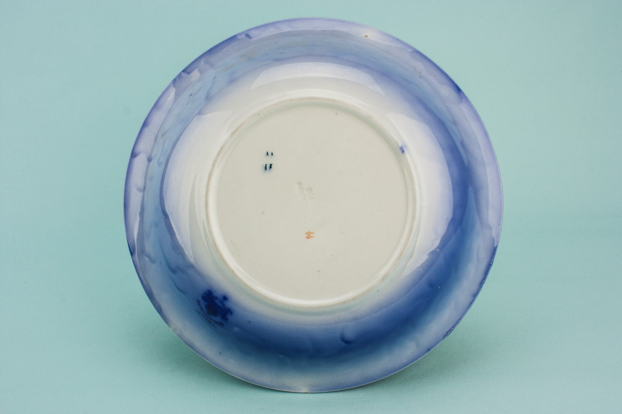 Flow blue serving dish
