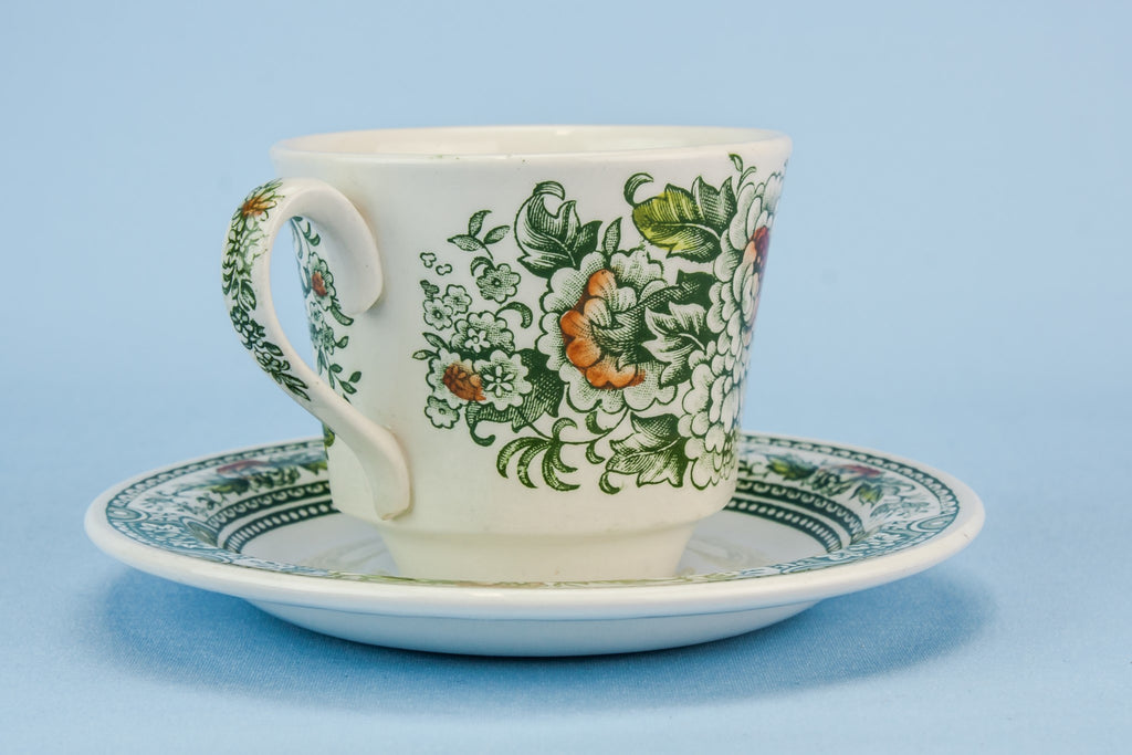 Green teacup and saucer