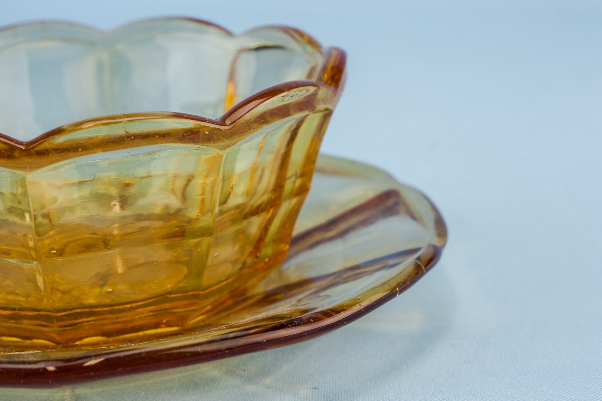 Amber glass small bowl
